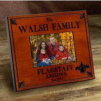 Cabin series picture frames personalized with Spruce design, name, city, state, and established year