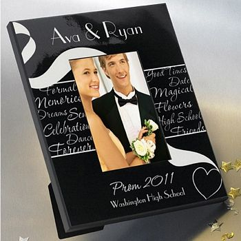 Black and white frame personalized with first names, year of prom, and name of high school