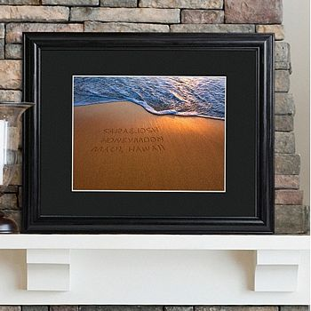 Sparkling sands personalized print with wood frame