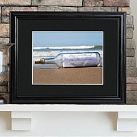 Message in a bottle personalized print with wood frame