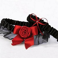 Black satin keepsake and throw away garter with red rose bloom and bow accents