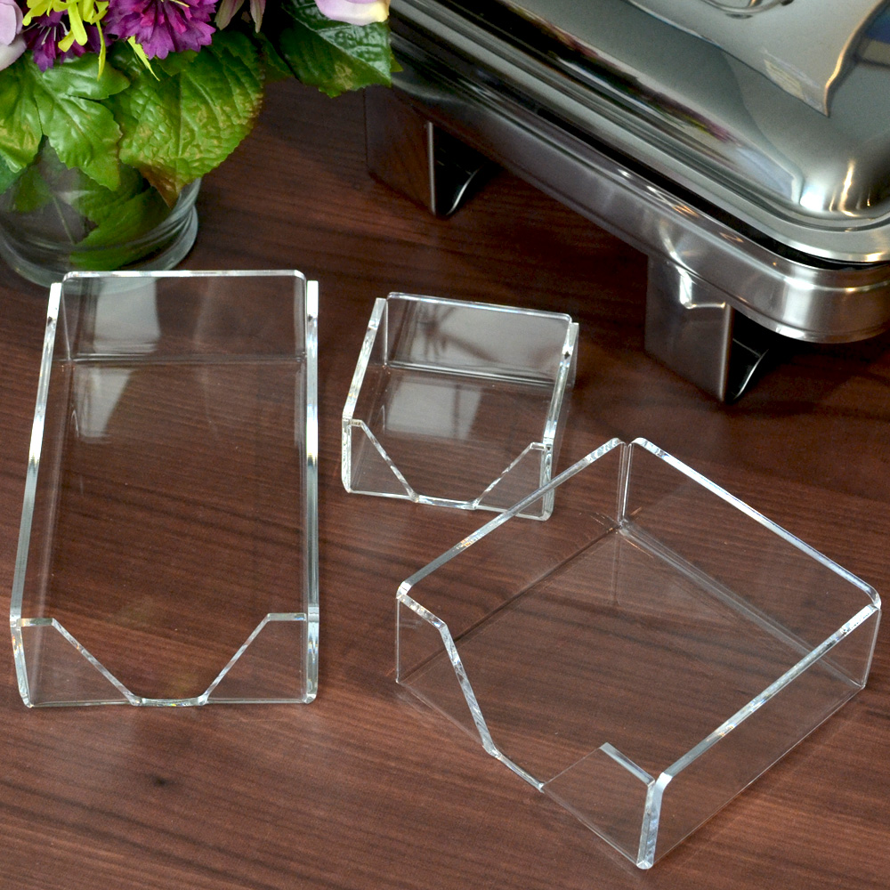 Clear acrylic napkin holder set for cocktail napkins, guest towels, and coasters