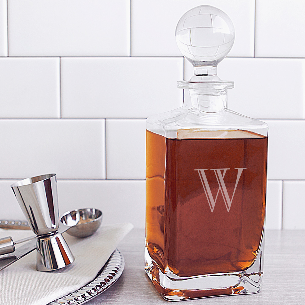 Personalized 32 Oz. Glass Whiskey Decanter