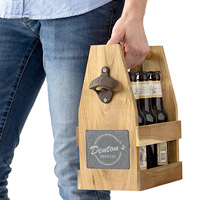 Acacia wood craft beer bottle carrier personalized with brewery name