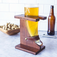 Viking horn beer glass personalized with single initial in wood glass stand