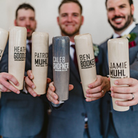 Groomsmen edition custom engraved baseball bat beer mugs with three lines custom text