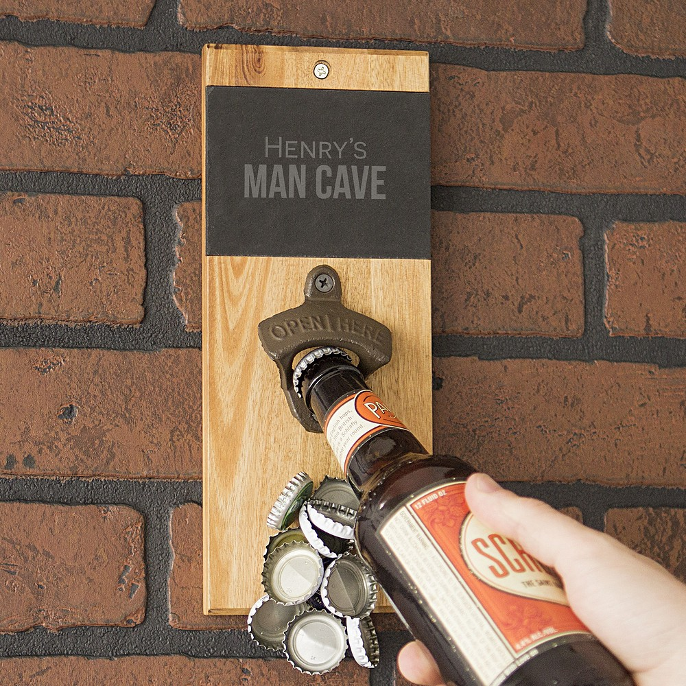 Personalized wall mount bottle opener lifestyle