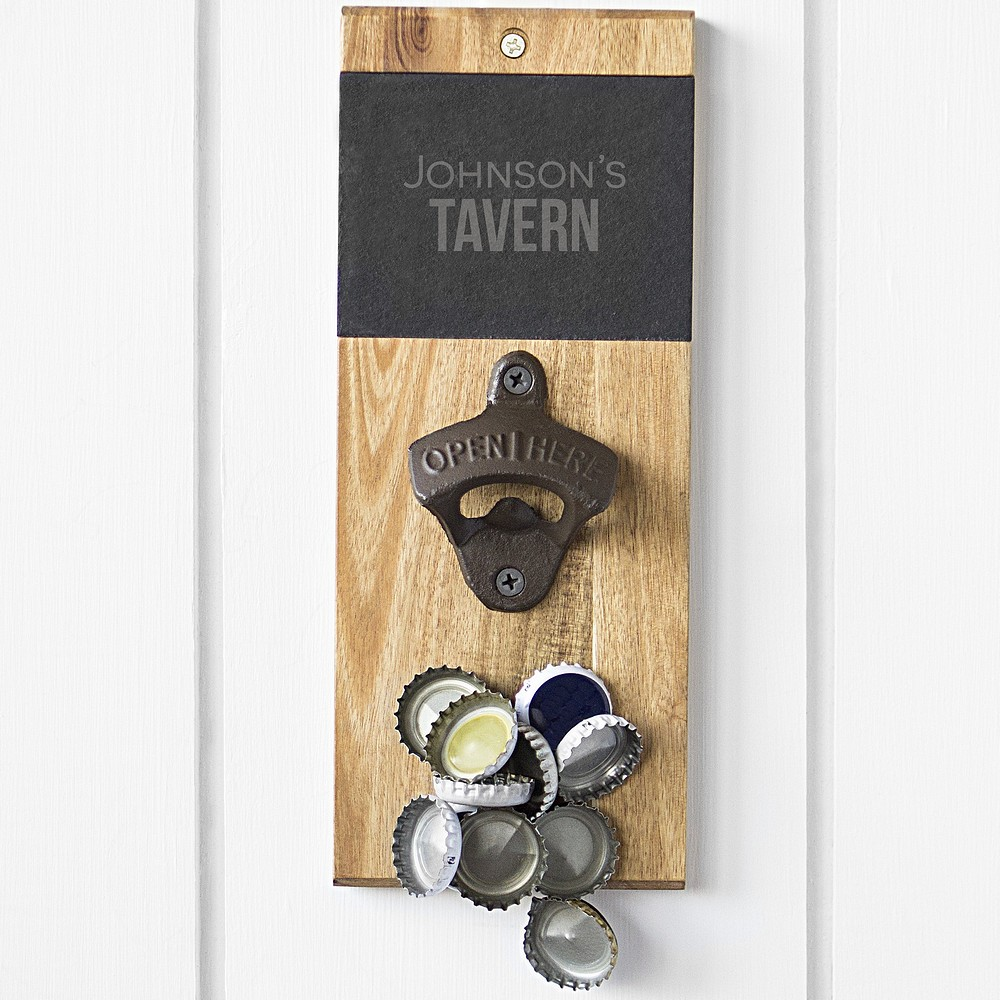 Personalized wall mount bottle opener magnetic cap catcher