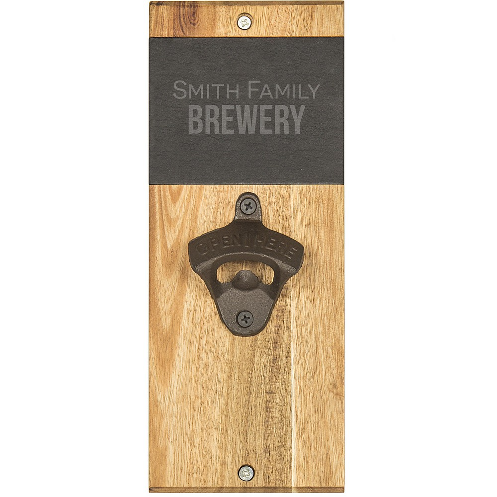 Personalized wall mount bottle opener front text