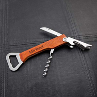 Personalized Wood Handled Wine and Bottle Opener Multi-Tool