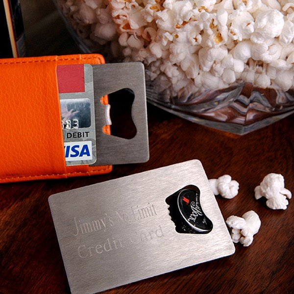 Personalized Stainless Steel Credit Card Bottle Opener