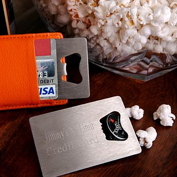 Custom engraved stainless steel credit card shape bottle opener