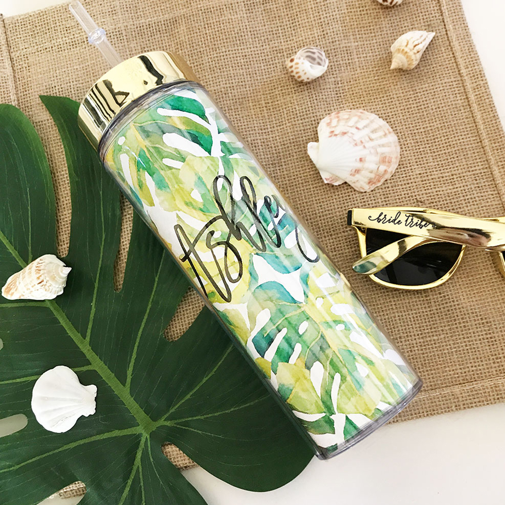 Personalized Palm Tropical Beach Skinny Tumbler Bridal Party Gifts