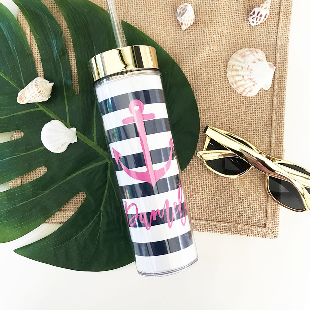 Personalized Anchor Tropical Beach Skinny Tumbler Bridal Party Gifts