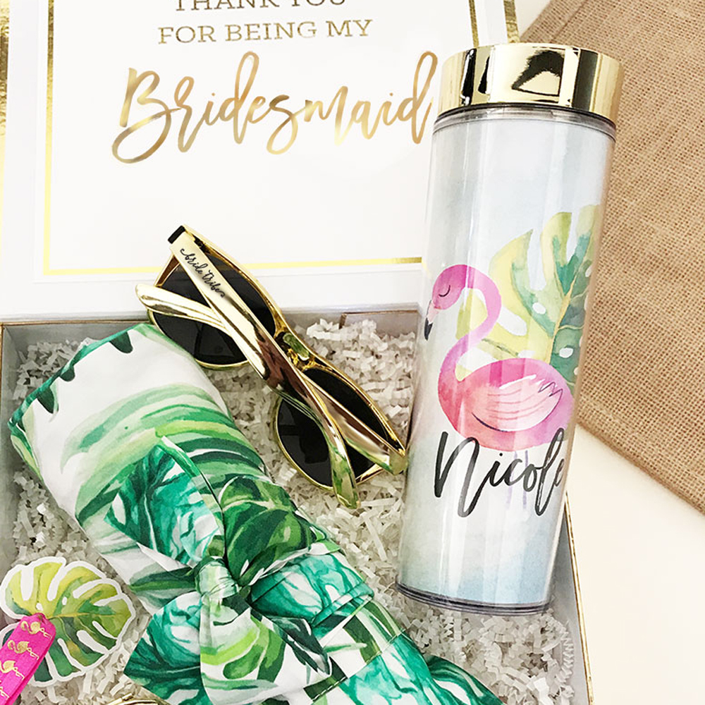 Personalized Tropical Beach Skinny Tumbler Bridal Party Gifts