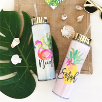 Instantly transport your leading ladies to white sand and blue water with these tropical beach skinny tumblers.  Personalized with a custom name in gold metallic, these tumblers are such a cute and stylish gift for your bridesmaids.
