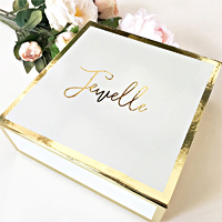 Personalized wedding party gift boxes are personalized with the name of your bridesmaid, flower girl, or maid of honor for an unforgettable way to package gifts for your bridal party.