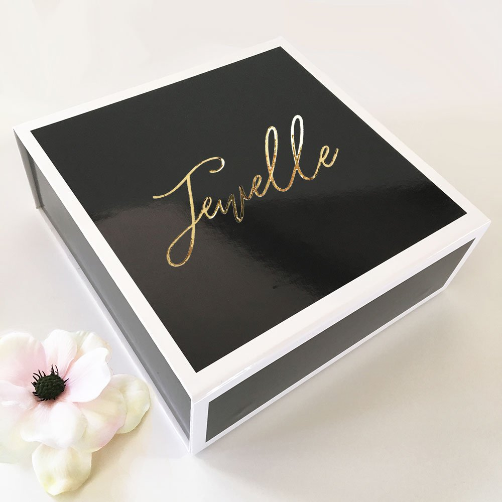 Personalized wedding party gift boxes are individually printed with the name of your bridesmaid, flower girl, or maid of honor for an unforgettable way to package wedding party gifts.