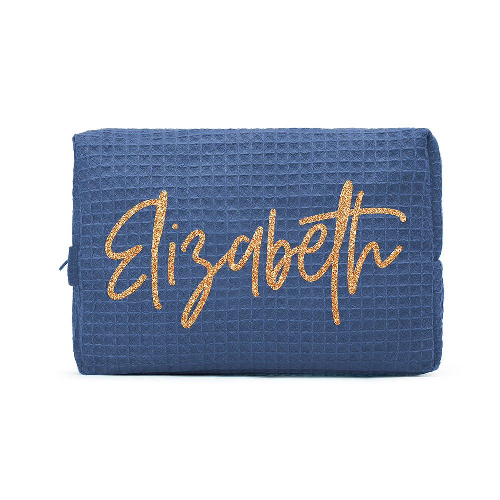 Women's Personalized Cotton Waffle Cosmetic Bag in Navy Blue