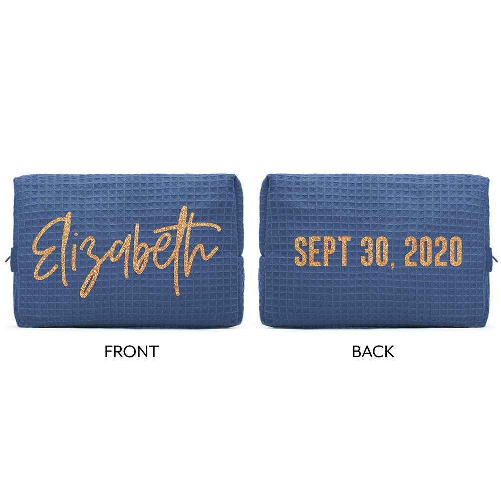Front and Back view of personalized women's waffle weave cosmetic bag in navy blue.