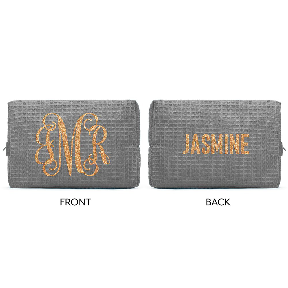 Front and Back view of the waffle weave cosmetic bag shown with 3-letter monogram.