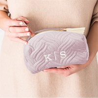 Personalized velvet cosmetic bag in Lavender with White Thread Color and the monogram personalization option.