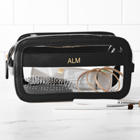 Black large cosmetic bag constructed of vegan leather and clear plastic, personalized with three initials