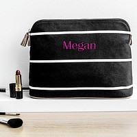 Personalized striped cosmetic bag black