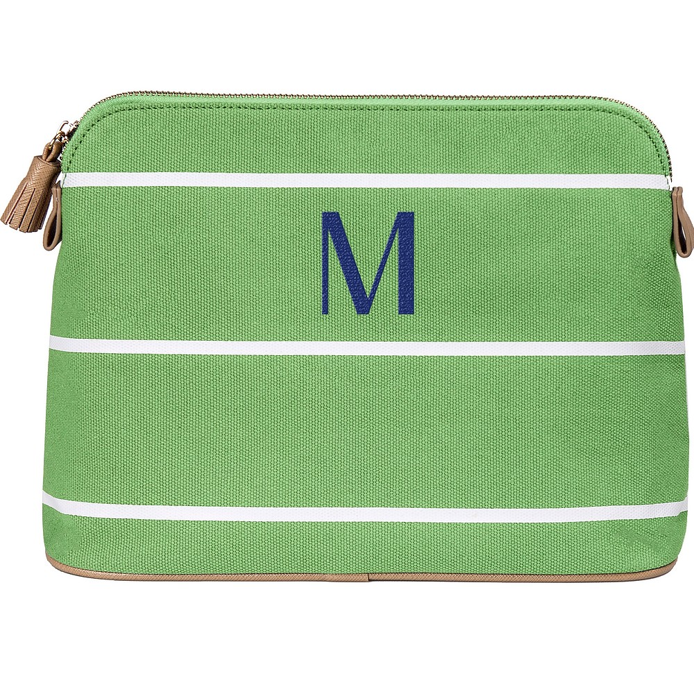 Green striped cotton canvas cosmetic bag personalized with single initial in navy blue imprint color