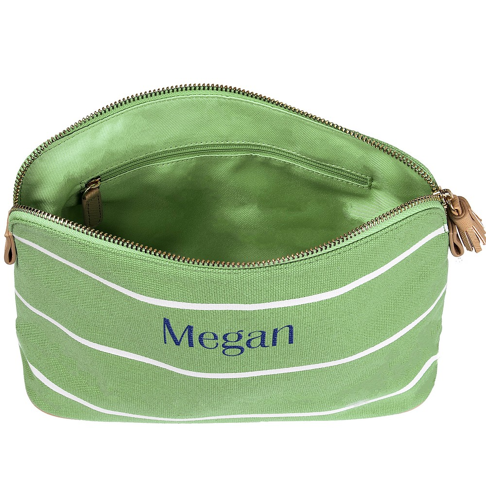 Top view of personalized green stripe cotton canvas cosmetic bag opened