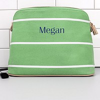 Green striped cotton canvas cosmetic bag personalized with custom name in navy blue imprint color
