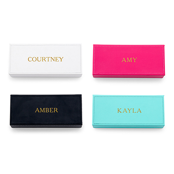 Personalized Faux Leather Jewelry Boxes
