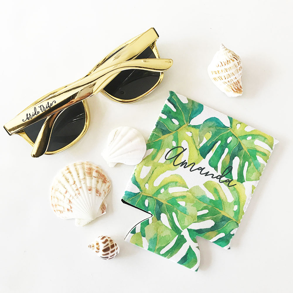 Tropical palm leaf beach can coolers for bridesmaids
