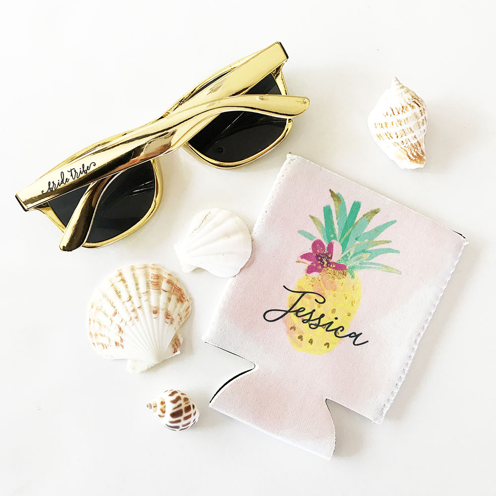 Tropical pineapple beach can coolers for bridesmaids