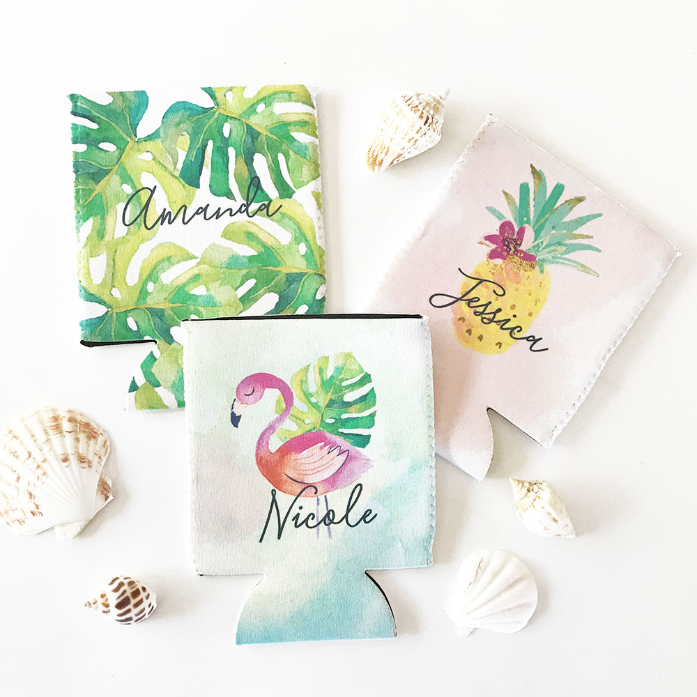 Your ladies will love these festive, tropical beer can coolers.  Personalized with each bridesmaid's name, these fun beach can coolers are perfect for a bachelorette party, bridesmaids thank you gifts, destination weddings, and fiesta bridal showers.