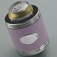Pink leather wrapped chrome can cooler with engraved chrome-plated medallion