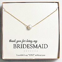 Floating pearl necklace in gift box with 'BRIDESMAID' message card