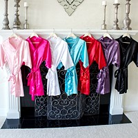 Silk bridesmaids robes available in 7 color options including pink, fuchsia, white, aqua, red, purple, and black
