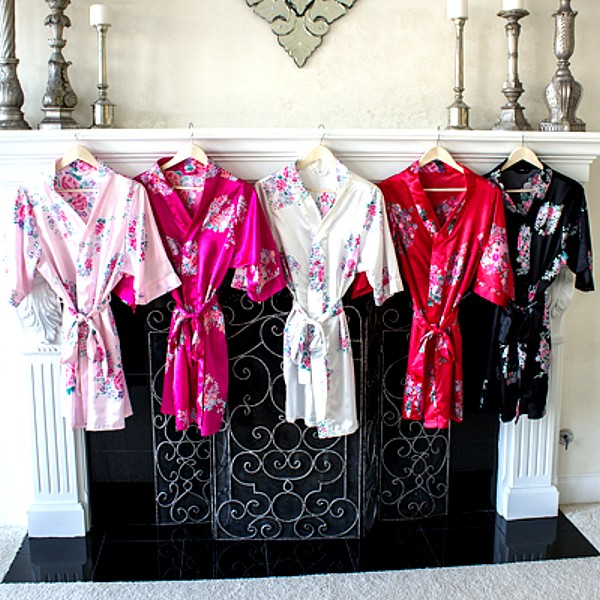 Floral bridesmaids kimono robes available in 5 color options including pink, fuchsia, white, red, and black