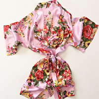 Your little flower girl with love being part of the girls and feel so pretty in this gorgeous floral satin bridal robe.
