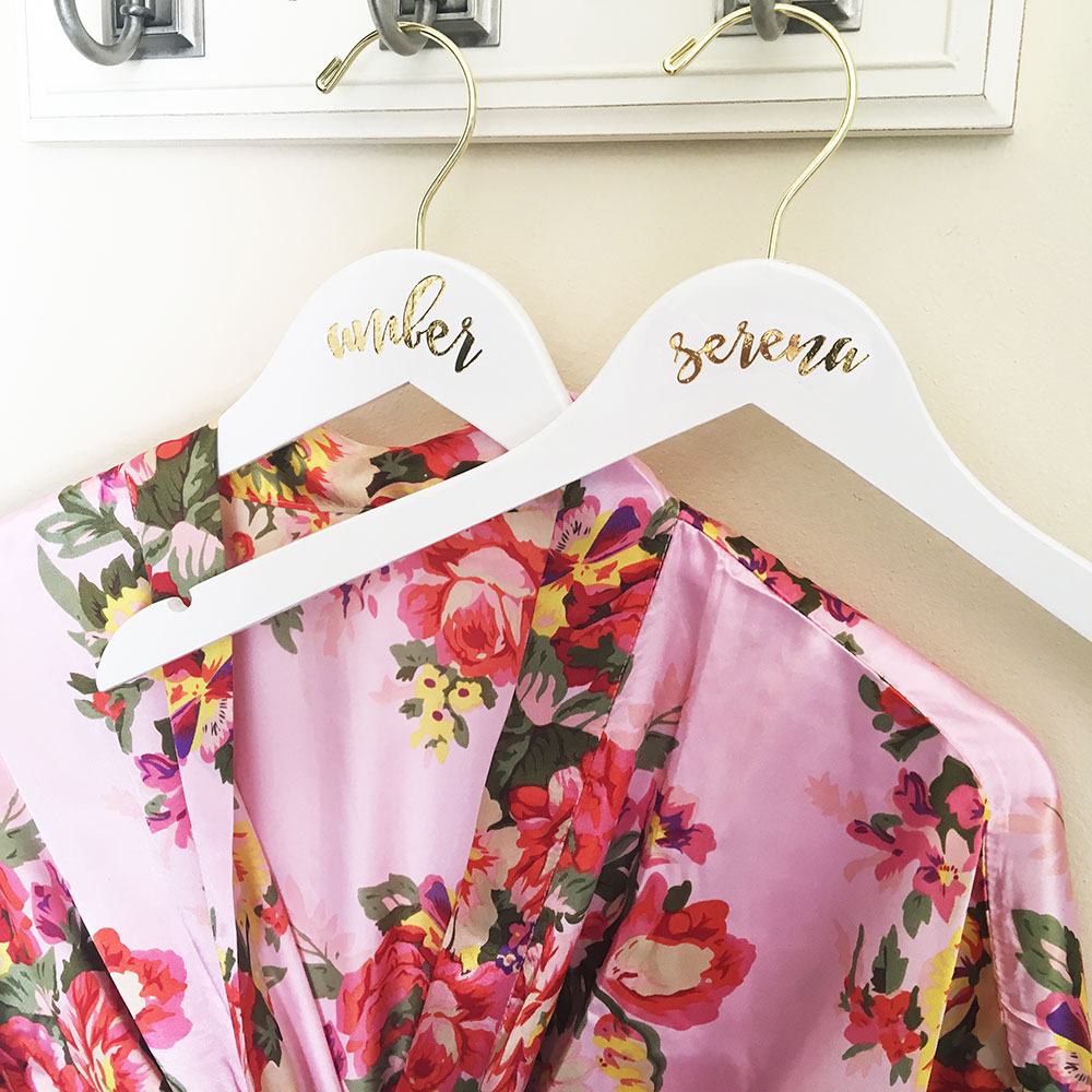Personalized White Clothes Hangers for Bridesmaids, Flower Girls, Maid of Honor, Mother of the Bride, and More