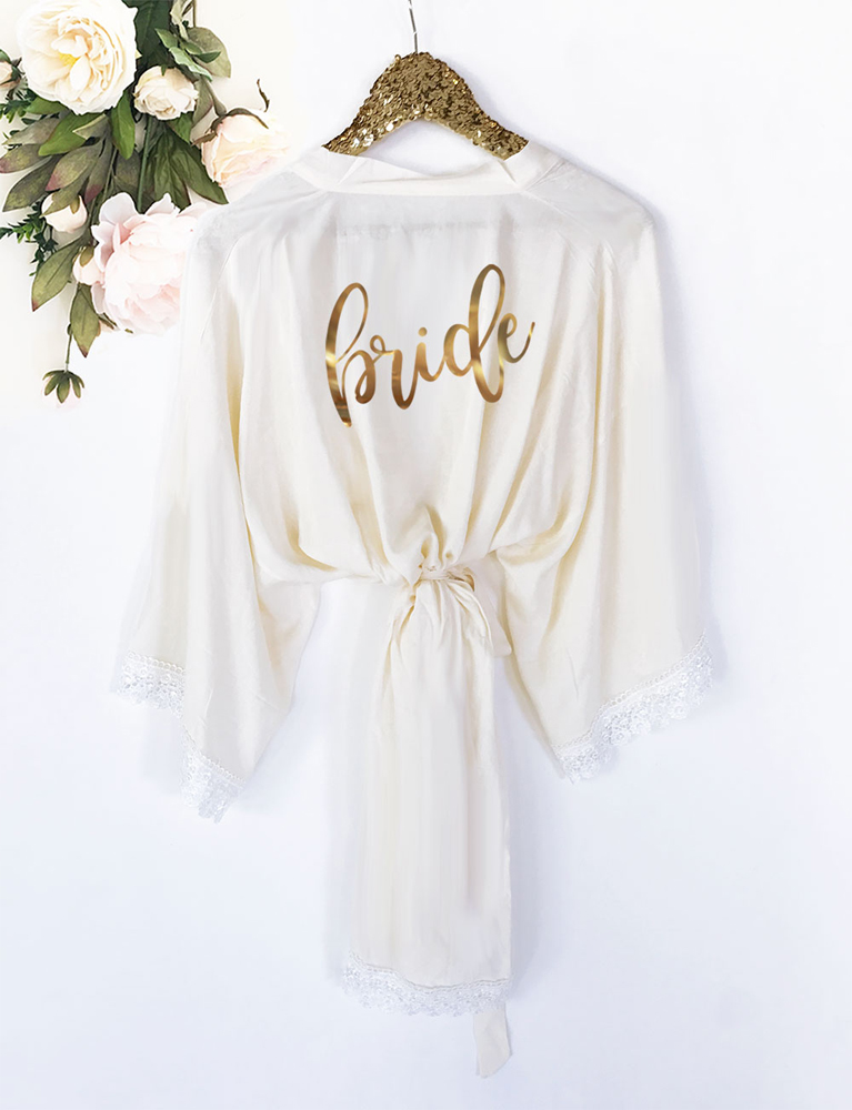 Bridal Party Soft Cotton Lace Robes - Bride