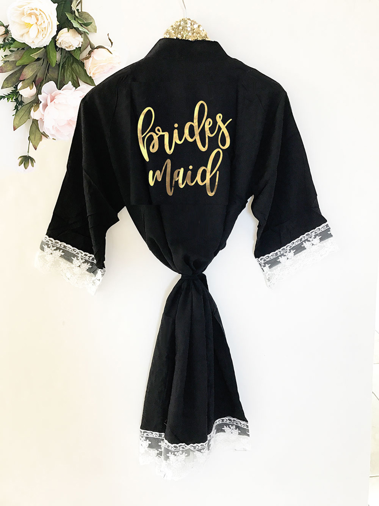 Bridal Party Soft Cotton Lace Robes - Bridesmaid