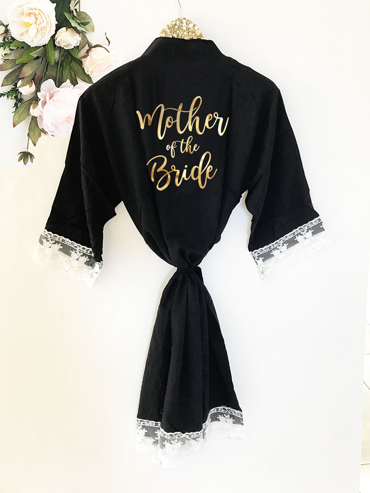 Bridal Party Soft Cotton Lace Robes - Mother of the Bride
