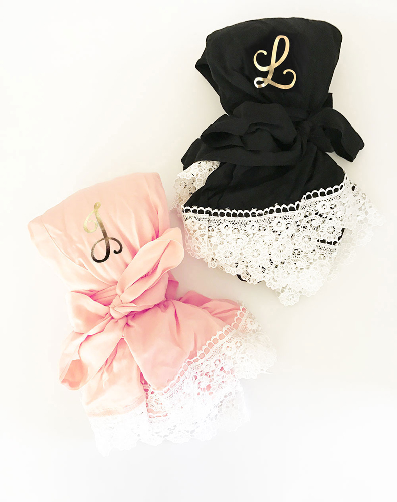 Black and Blush Monogrammed Soft Cotton Lace Bridal Robes