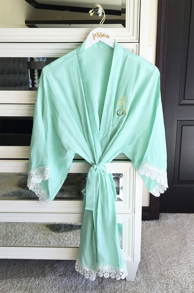 Mint Green Monogrammed Soft Cotton Lace Bridal Robe