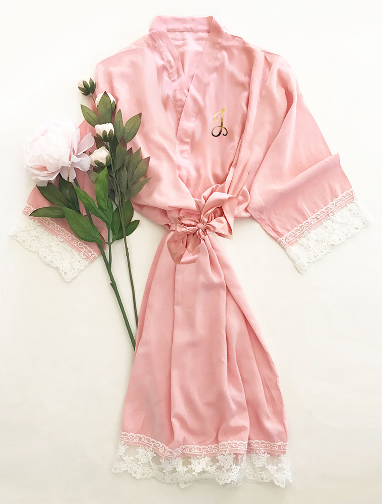 Blush Pink Monogrammed Soft Cotton Lace Bridal Robe