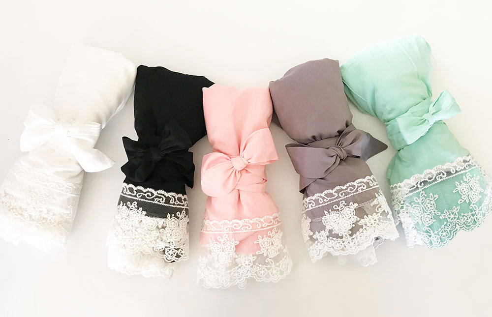Monogrammed Soft Cotton Lace Bridal Robes in Assorted Colors