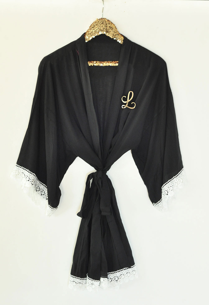 Made of soft, cotton rayon, these feminine, monogram lace robes are a must-have for wedding day photos of you and your bridesmaids getting ready.