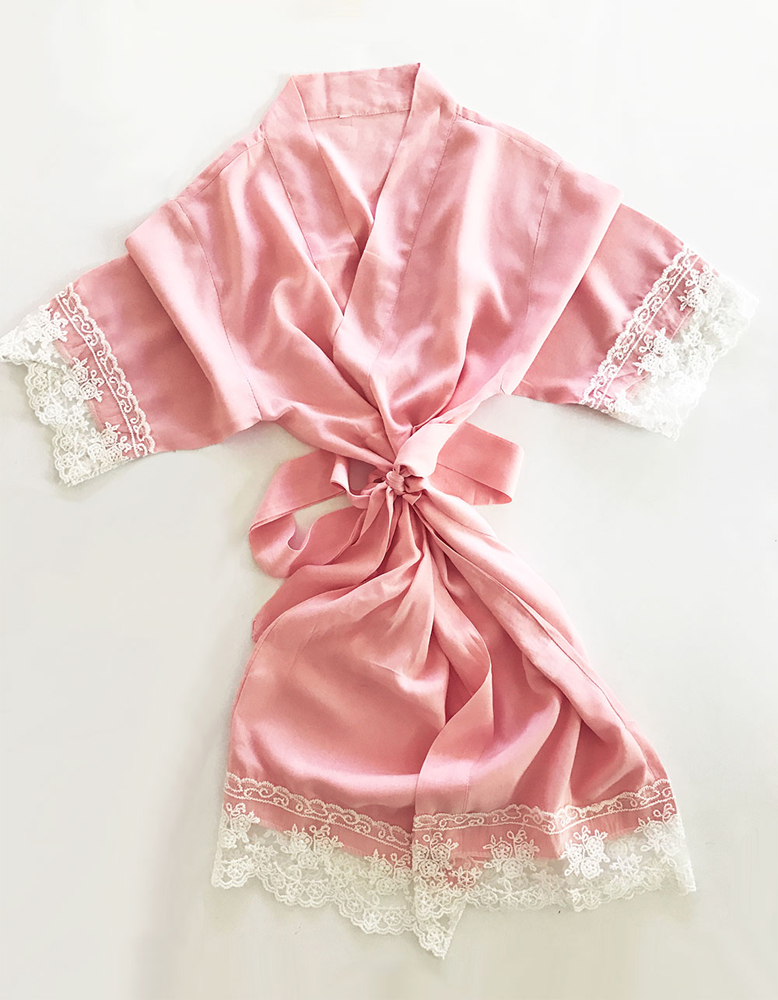 Blush Pink Cotton Lace Flower Girl Robe